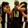 Gloucester's Vanessa Saputo, Olivia Lufkin, and Lindsey Rogers show their frustration after losing 67-55 to Westford Academy during the first round of the Division II North State Tournament at Westford Academy last night. Photo by Kate Glass/Gloucester Daily Times Monday, February 23, 2009