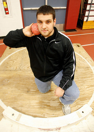 """Gloucester: Gus Margiotta is headed to the state track meet in Boston today to compete in the shotput. Margiotta is seeded third with a throw of 54' 7 3/4"""""""