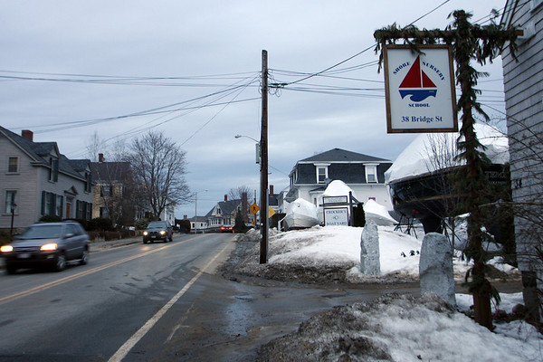 Manchester: Manchester selectmen are considering extending the sidewalk on Bridge Street so it connects to Shore Nursery School. Photo by Kate Glass/Gloucester Daily Times Wednesday, February 11, 2009