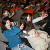 "Rockport: Rockport Elementary School students Meagan Smith, left, and Caroline Quirk, right, learn how 3-D glasses work before watching ""The 3-D Underwater World of Sampson the Frog Fish"" narrated by Ed Jameson, who took the 3-D photos. Photo by Kate Glass/Gloucester Daily Times Tuesday, February 10, 2009"