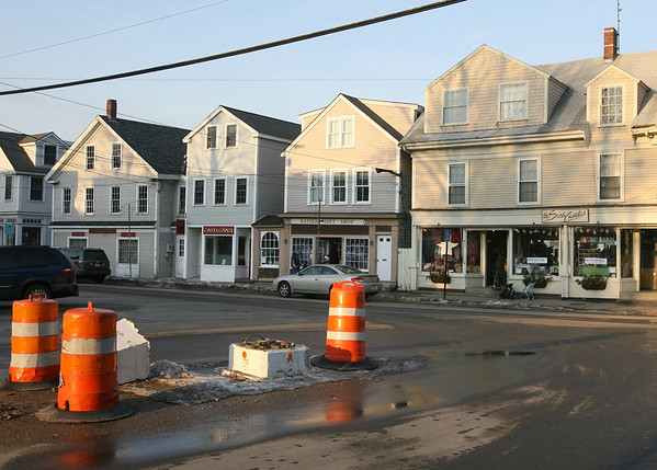 The lighthouse at the end of Broadway in Rockport was struck by a car over the weekend. Photo by Kate Glass/Gloucester Daily Times Monday, February 2, 2009