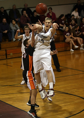 Rockport: Rockport's Josh Altman makes a leaping pass during their game against Ipswich last night. Photo by Kate Glass/Gloucester Daily Times Monday, February 9, 2009