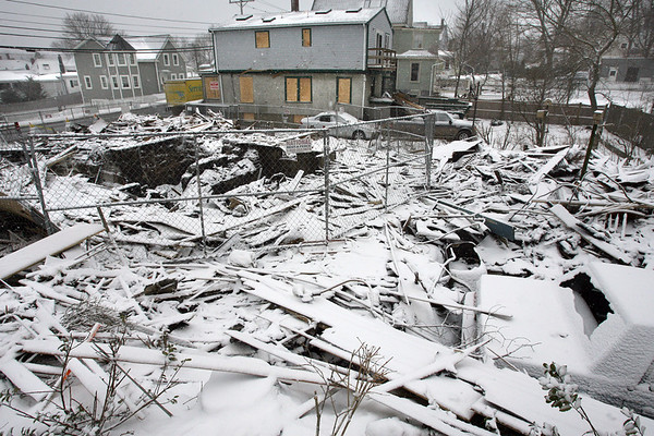 Gloucester: The scene of last Sunday's home explosion at 76 Eastern Ave. Photo by Kate Glass/Gloucester Daily Times Tuesday, February 3, 2009