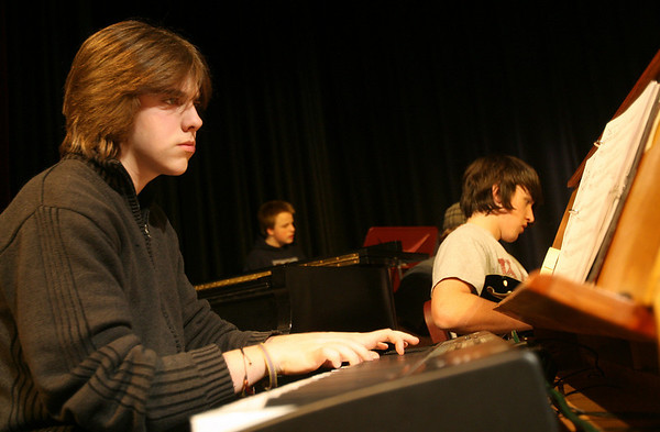 Rockport: Alex Cleves plays keyboard during the Rockport High School Jazz Band's rehearsal Wednesday afternoon. Photo by Kate Glass/Gloucester Daily Times Wednesday, February 4, 2009