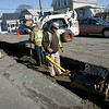 Gloucester: National Grid crews repair the gas line along Eastern Ave. yesterday. Work in the area is expected to continue into March. Photo by Kate Glass/Gloucester Daily Times Tuesday, February 24, 2009