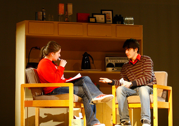 "Rockport: Briana Traynor, playing Joan, and Ben Patey, playing Nick, rehearse for ""The Guys"" at Rockport High School Tuesday.  ""The Guys"" by Ann Nelson will be Rockport's entry in the Massachusetts State Drama Competition. Kate Glass/Gloucester Daily Times"