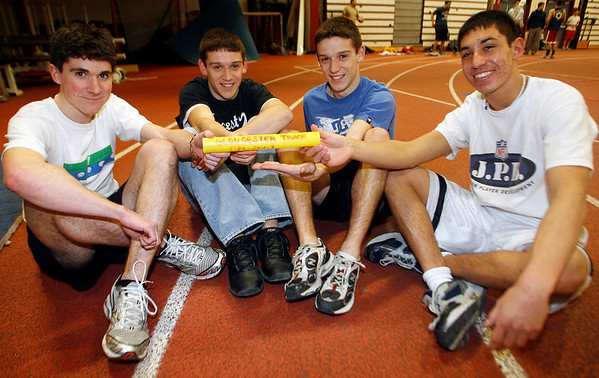 Gloucester: Gloucester's 4x800 team: Andrew Ryan, Kyle Hurd, Kevin Hurd and Gilbert Brown are headed to Boston for the state track meet today. Photo by Kate Glass/Gloucester Daily Times Thursday, February 26, 2009