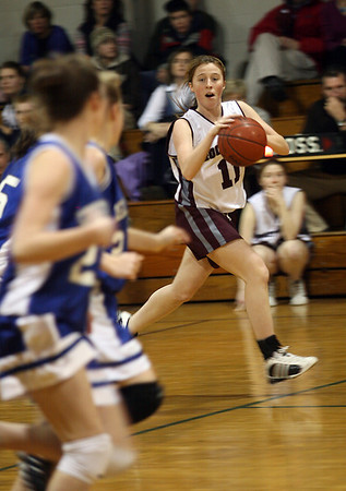 Rockport's Laurie Donnelly looks for an open teammate as she dribbles up the court during their game against Georgetown last night. Photo by Kate Glass/Gloucester Daily Times Tuesday, February 10, 2009