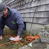 Rockport: Dave Fritz of the Rockport Water Department squeezes through a window to replace a water meter with one that uses automatic meter reading technology. Approximately 1,000 residents still have old meters, which transmit data through a phone line. Photo by Kate Glass/Gloucester Daily Times