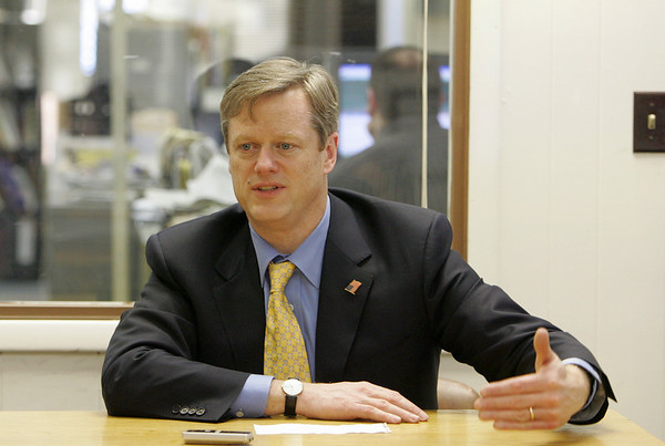 Gloucester: Charlie Baker, Republican candidate for Governor of Massachusetts, meets with reporters at the Gloucester Daily Times Friday. Mary Muckenhoupt/Gloucester Daily Times