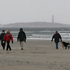 Gloucester: Paul Korn, Mark Anthony, and Dario Pittore walk along Good Harbor Beach as their dogs greet a fellow walker and his dog yesterday afternoon. The three walk the beach regularly, even in bad weather. Photo by Kate Glass/Gloucester Daily Times