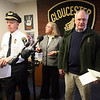 Gloucester: Gloucester Police Chief Michael Lane, Mayor Carolyn Kirk, and Superintendent of Schools Christopher Farmer answer questions regarding the death of Dylan Hill, a 16-year-old Gloucester High School student whose body was found at Flat Cove Beach on Sunday, during a press conference at the Police Station yesterday morning. Photo by Kate Glass/Gloucester Daily Times