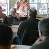 Gloucester: Gloucester Mayor Carolyn Kirk talks with local fisherman at Cruiseport Friday to get a sense of what ideas they want her to bring to the United We Fish Demonstration in Washington D.C. later this month. Mary Muckenhoupt/Gloucester Daily Times