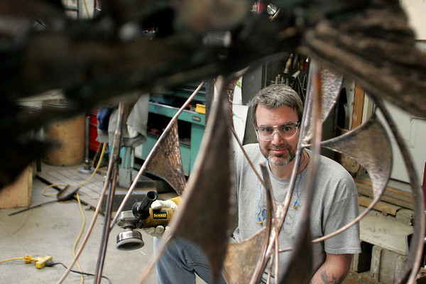 Essex: Chris Williams is working on a large scale metal sculpture in his studio in Essex to be put on display at Logan Airport in the next few weeks.  The sculptor will be at the airport for at least six months. Mary Muckenhoupt/Gloucester Daily Times