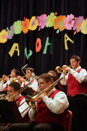 Gloucester: The Docksiders, including senior Michael Schmorrow on trombone, play for a packed house as they put on their Aloha concert at Fuller School Friday night.  This was the Docksiders last big fundraiser for their trip to Hawaii in April. Mary Muckenhoupt/Gloucester Daily Times