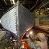 Essex: Francis Cleary works of refastening a 21-foot catboat at the Essex Shipbuilding Museum Thursday afternoon.  The boat was donated to the museum in fairly rough shape so Cleary is restoring the boat to get it back in the water. Mary Muckenhoupt/Gloucester Daily Times