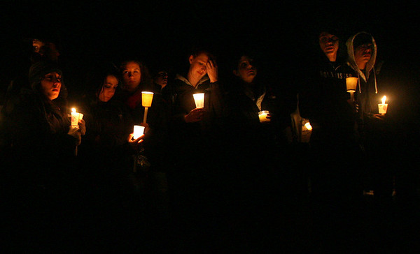 Gloucester: Several hundred people gathered at Rocky Neck Park last night for a vigil in memory of Dylan Hill, a 16-year-old Gloucester High School student who died on Sunday. Photo by Kate Glass/Gloucester Daily Times