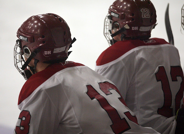 Gloucester: Members of the Gloucester boys hockey team wore the initials of Dylan Hill on their helmet in memory of the Gloucester High School sophomore who died over the weekend. Photo by Kate Glass/Gloucester Daily Times