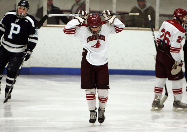 Gloucester: Gloucester's Edan Lewis hangs his head after a missed goal during the second period of the hockey hame against Peabody at Dorothy Talbot Rink Wednesday night. Peabody defeated Gloucester 4-3. Mary Muckenhoupt/Gloucester Daily Times