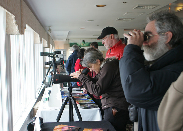 Gloucester: From right, Ira Levine of Rockport, Janet Stein of Saranac Lake, N.Y. and John Dailey of Lexington look out the windows of the Gloucester Elks Club during Cape Ann Winter Birding Weekend sponsored by the Cape Ann Chamber of Commerce Saturday afternoon. Mary Muckenhoupt/Gloucester Daily Times