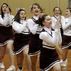 Rockport: The Rockport High School Cheerleaders perform during a time-out at the boys basketball game on Tuesday night. The Vikings will play Snowden in the Quarter Final of the Miaa North Division 4 Tournament tonight at 7 p.m. Photo by Kate Glass/Gloucester Daily Times
