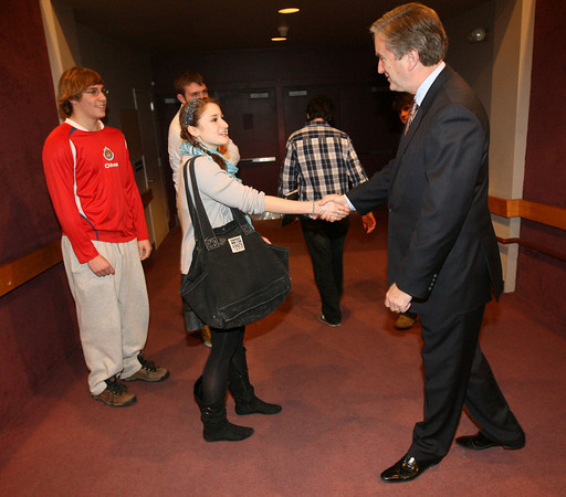Rockport: Emma Ottenheimer thanks Congressman John Tierney for speaking to the juniors and seniors at Rockport High School as Keady Segel and Mike McGillicuddy look on yesterday morning. Photo by Kate Glass/Gloucester Daily Times