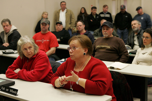 Gloucester: Angela Sanfilippo, president of the Fisheman's Wives Association,  talks to Sen. Scott Borwn about her concerns for the future of the fishing industry as Brown makes a visit to the Gloucester Seafood Display Auction Saturday afteroon. Mary Muckenhoupt/Gloucester Daily Times