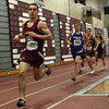 Gloucester: Gloucester runner Kyle Hurd leads the pack in the 1000m race during their meet against Peabody at the Benjamin A. Smith Fieldhouse yesterday. Photo by Kate Glass/Gloucester Daily Times
