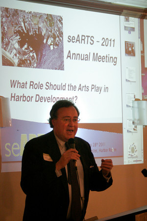 Gloucester: seARTS President James Caviston delivers the opening remarks during their annual meeting at Cruiseport last night. Photo by Kate Glass/Gloucester Daily Times