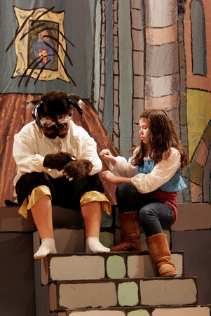 """Gloucester: Alex Grace as Belle and Sam Bevins as the Beast, rehearse a scene from O'Maley Middle School's production of """"Beauty and the Beast,"""" which runs Friday, March 4 and 11 at 7pm and Saturday, March 5 and 12 at 1pm. Photo by Kate Glass/Gloucester Daily Times"""
