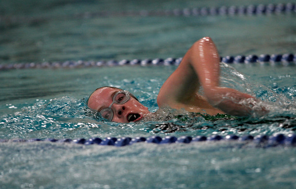 Manchester Essex's Annie Alfano competes in the 100 Freestyle during their junior varsity meet against Masconomet at Gordon College last night. Photo by Kate Glass/Gloucester Daily Times