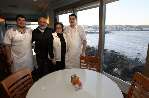 Rockport: The Brackett family: Marc, Chuck, Terry, and Ross. Marc and Ross recently opened Brothers Brew next to their parents' restaurant, Brackett's Ocean View Restaurant, in Rockport. Photo by Kate Glass/Gloucester Daily Times
