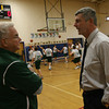Essex: Hardy Nalley and Steve Rowell chat before their 8th grade boys basketball teams play at Essex Elementary School yesterday. Although the two have been involved in sports at Manchester Essex and Rockport, they have never faced each other until yesterday. Photo by Kate Glass/Gloucester Daily Times