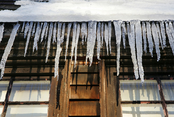 Gloucester: Icicles hang off the side of the TOHP Burnham Library. Mary Muckenhoupt/Gloucester Daily Times