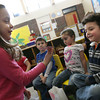 "Gloucester: Allie Valvano gives a valentine to her classmate, Isaiah Francis, during a ""Friendship Day"" celebration at the Gloucester Preschool at Fuller School yesterday. Photo by Kate Glass/Gloucester Daily Times"