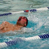 Manchester Essex's Nick Bouwer competes in the 200 Individual Medley during their meet against Masconomet at Gordon College last night. Photo by Kate Glass/Gloucester Daily Times