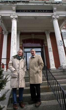 Gloucester: J.J. Bell, Co-Chair of the Community Preservation Committee, and Steve Dexter of the City Hall Restoration Commission, stand in front of the Dale Avenue entrance to City Hall, which is one of several elements of the building that will be renovated using funds from the Community Preservation Act. Photo by Kate Glass/Gloucester Daily Times