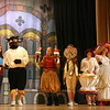 "Gloucester: Alex Grace as Belle and Sam Bevins as the Beast, walk past castmates Tess Benson, Jemma Johnson-Shoucair, Morgan Bertolino, and Lauren Horne while rehearsing a scene from O'Maley Middle School's production of ""Beauty and the Beast,"" which runs Friday, March 4 and 11 at 7pm and Saturday, March 5 and 12 at 1pm. Photo by Kate Glass/Gloucester Daily Times"