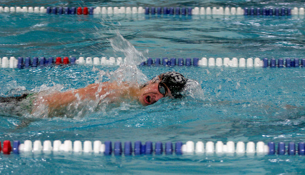 Manchester Essex's Dustin Ferzacca competes in the 200 Freestyle during their meet against Masconomet at Gordon College last night. Photo by Kate Glass/Gloucester Daily Times