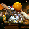 Gloucester: Gunnar VonHaden and Alex Vien have a battle of the cheese heads while watching the Super Bowl with their families at the Minglewood Tavern at Latitude 43 last night. Photo by Kate Glass/Gloucester Daily Times