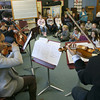 Rockport: The Harlem Quartet performs for Rockport Elementary School students yesterday afternoon as part of their 4-day residency on the North Shore with Rockport Music's education programming. The Quartet will be giving a free concert at the Shalin Liu Performance Center for the community tonight at 7 pm. Photo by Kate Glass/Gloucester Daily Times
