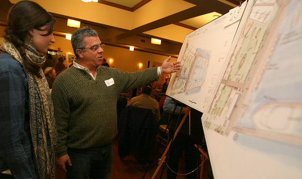 Gloucester: Robert Alves discusses his proposal for the I-4, C-2 property, which would be called Kipling's Landing, during the seARTS Annual Meeting at Cruiseport last night. Alves' proposal includes an area for a community sailing program, recreational boat use as well as commercial boat use. Photo by Kate Glass/Gloucester Daily Times