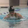 Manchester Essex's Maddy Huleatt swims the breast stroke in the 200 Medley during their meet against Masconomet at Gordon College last night. Photo by Kate Glass/Gloucester Daily Times