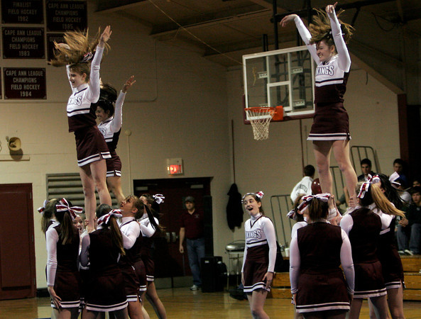 Rockport: The Rockport High School Cheerleaders perform their routine during halftime at the last home game for the boys basketball team on Thursday. Photo by Kate Glass/Gloucester Daily Times