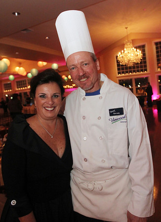 ALLEGRA BOVERMAN/Staff photo. Gloucester Daily Times. Gloucester: Sherree DeLorenzo, left, manager of Cruiseport Gloucester, and Tom Lang, owner of Vinwood Caterers.