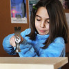 GLOUCESTER—Samira Krol, 8, of Lynn, visits family in Gloucester during February break and builds a wooden birdhouse at the Cape Ann Discovery Center on Monday morning. Jesse Poole/Gloucester Daily Times Feb. 20, 2012