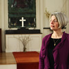 Rev. Deirdre White of Annisquam Village Church stands in the sanctuary where she infuses performing arts into her ministry and worship. Jesse Poole/Gloucester Daily Times Feb. 7, 2012