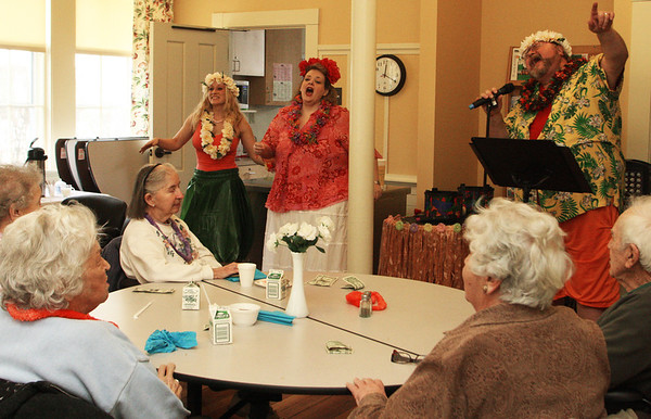 Big Smile Entertainment of Manchester visits a luncheon at the Rockport Community Center on Thursday afternoon with a Hawaiian theme. Jesse Poole/Gloucester Daily Times Feb. 16, 2012