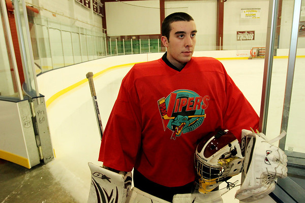 ALLEGRA BOVERMAN/Staff photo. Gloucester Daily Times. Gloucester: Rockport junior and goalie Colby Foster.
