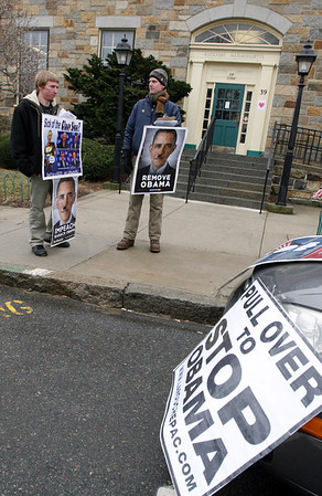 ALLEGRA BOVERMAN/Staff photo. Gloucester Daily Times. Rockport: Supporters of Lyndon H. LaRouche Jr. were demonstrating in front of the Rockport Post Office on Wednesday.